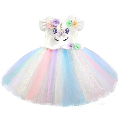 Colorful Unicorn Costume Tutu Dresses 1-5 year old