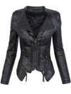 Women Motorcycle Jacket Black Gothic faux  leather