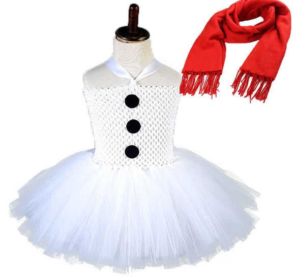 White Christmas Snowman Cosplay Tutu Dress