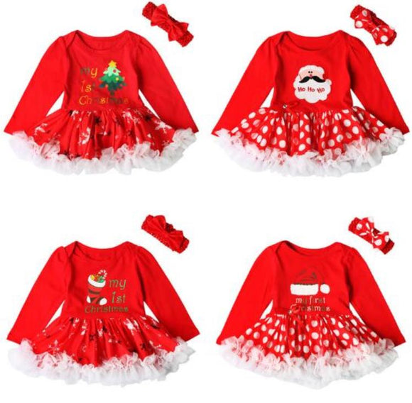 Baby Christmas Dress + Hair Band Set