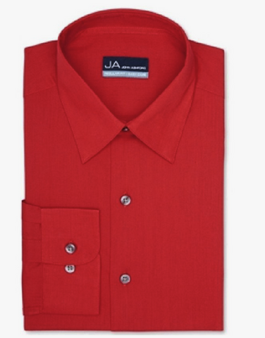 John Ashford Solid Dress Shirt Red, 18 (34/35), XXL