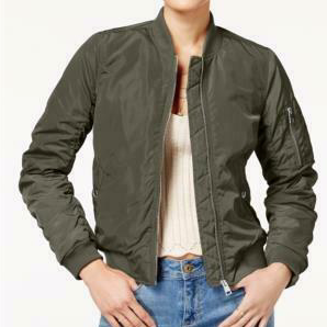 American Rag Juniors Olive Ruched-Back Bomber Jacket, Medium