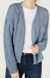 Crave Fame Juniors' Open-Front Cable Knit Cardigan, Dusty Blue, Large
