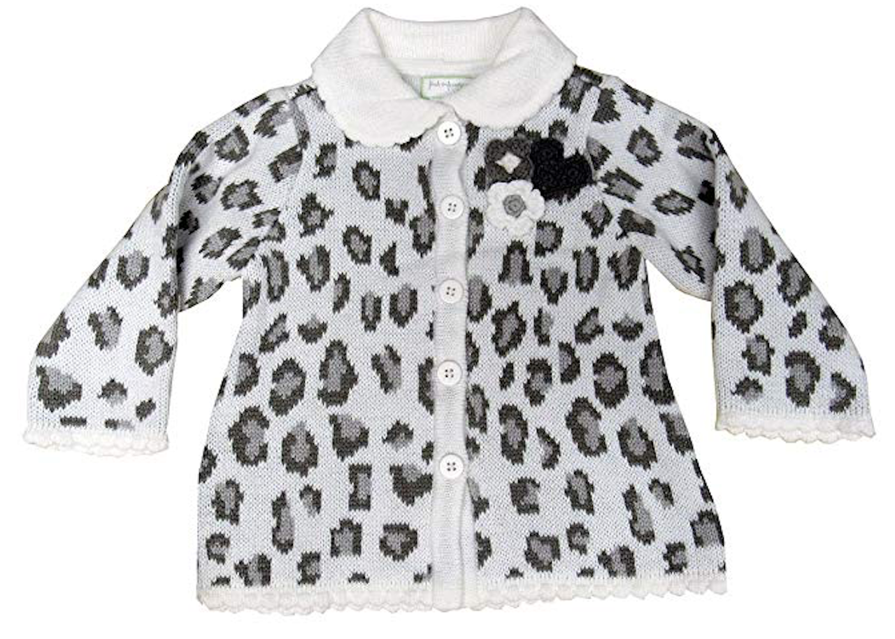 First Impressions Baby Girls' Leopard-pattern Intarsia Collared Cardigan, 12 Months