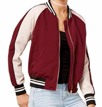 Hippie Rose Juniors' Cropped Varsity Bomber Jacket, Red/Seed Combo, XS