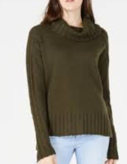 Hooked Up by IOT Juniors' Drop-Shoulder Sweater, Olive, Medium