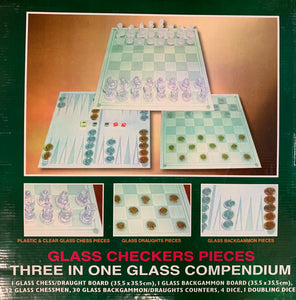 Generation Glass Checkers Pieces Limited Edition Three in One Glass Compendium