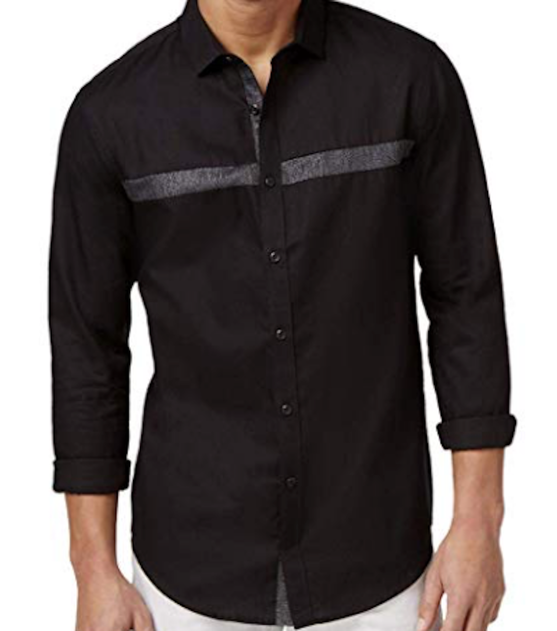 INC Mens Metallic Contrast Trim Button-Down Shirt, Black, Medium