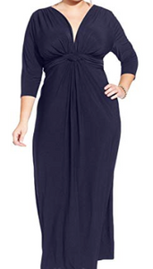 Love Squared Women's Plus Matte Jersey 3/4 Sleeves Evening Dress, Navy, 2X