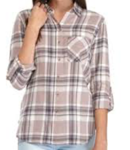 Polly & Esther Juniors' Plaid Roll-Tab Shirt, Pink Plaid, X-Large