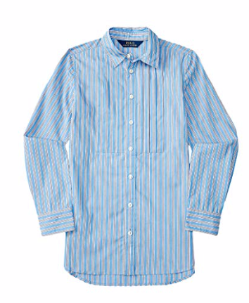Ralph Lauren Polo Girls Poplin Striped Tunic Shirt Blouse, Blue, Size 10 SCHOOL