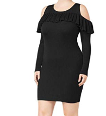 Say What? Womens Plus Size Knit Cold Shoulder Sweater Dress, Black, 1X