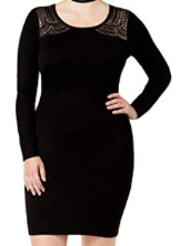 Say What? Womens Studded Sheath Sweaterdress, Black, 2X