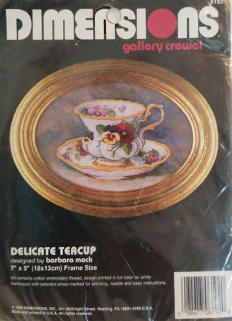 Dimensions Gallery Crewel Stamp Embroidery Kit Delicate Teacup 6192