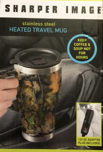 Sharper Image Heated Travel Mug Stainless Steel, Camouflage