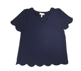 Monteau Scalloped Girls Waffle Blouse, Navy, L