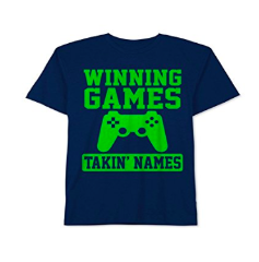 Little Kids Jem Boys 'Winning Games' Graphic T-Shirt, Navy 4