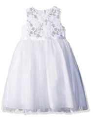 Marmellata Girls' Special Occasion Dress, White, 6X