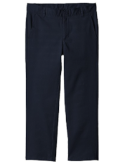 Nautica Boys' or Husky Flat-Front Twill Uniform Pants, Navy, 20 Husky