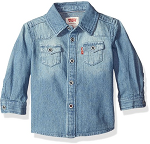 Levi's Boys' Baby Barstow Western Denim Shirt, Vintage Stone, 24 Months