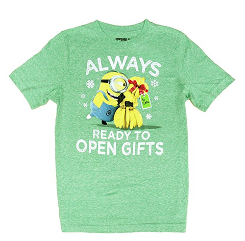 Universal Studios Minions Ready to Open Gifts T-Shirt, Green, Size 2