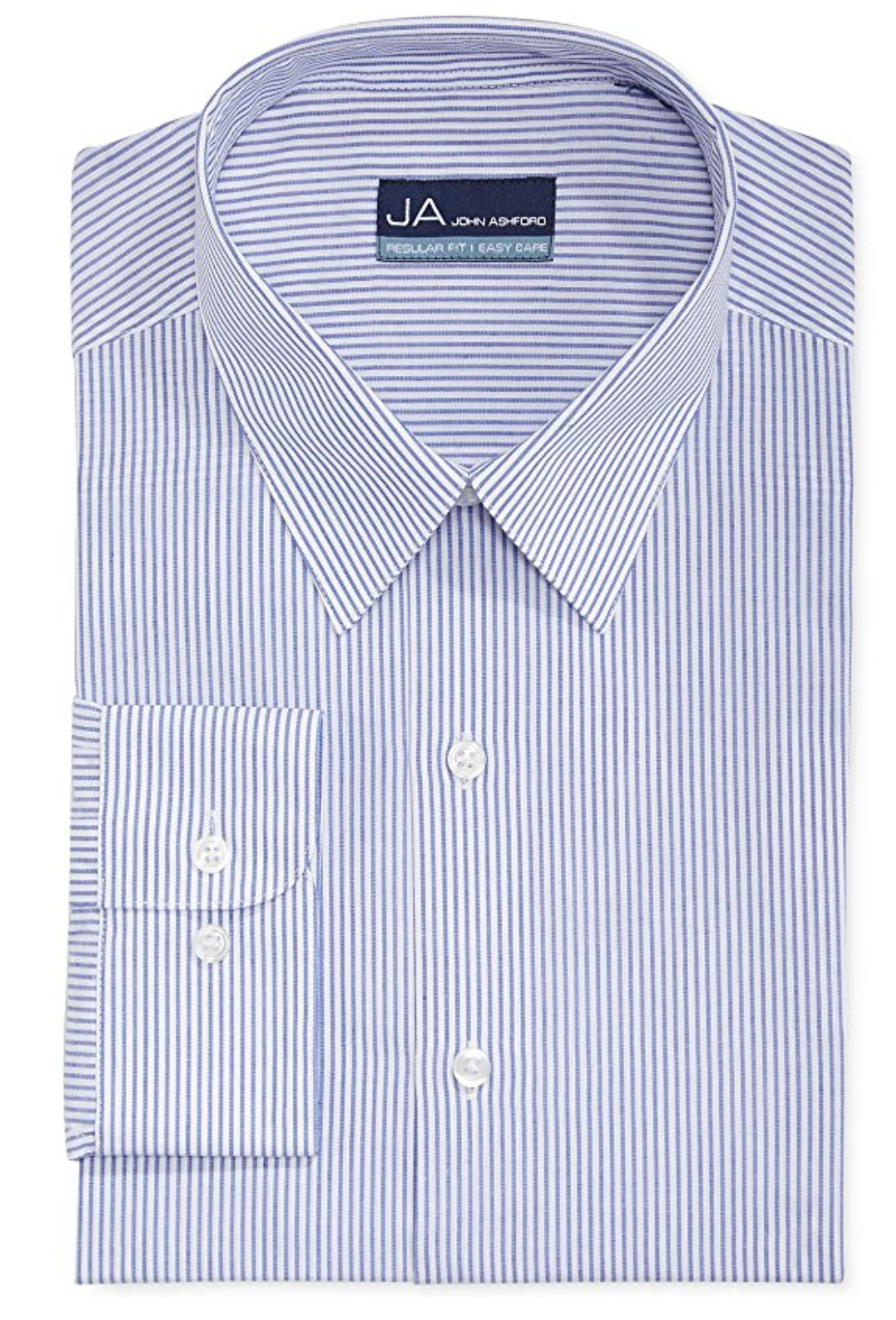 John Ashford Mens Regular Fit Striped Dress Shirt Blue, 16 (32/33)