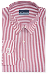 John Ashford Men's Regular Fit Red Stripe Dress Shirt