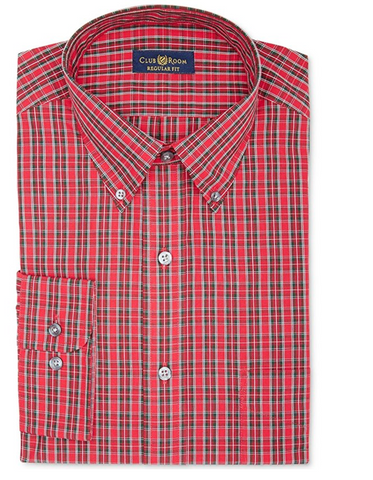 Club Room Berry Tartan Dress Shirt Berry, 15 (34/35)