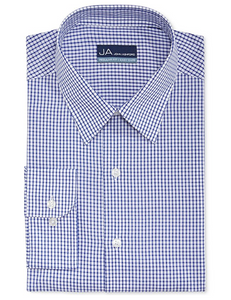 John Ashford Men's Regular-Fit Easy-Care Dress Shirt, Blue & White Tattersal, 16 (32/33)