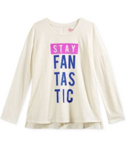 Epic Threads Graphic-Print T-Shirt Big Girls 'Stay Fantastic' Ivory Shirt, Large
