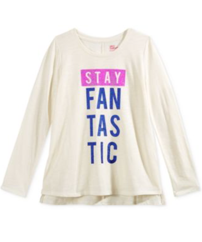 Epic Threads Graphic-Print T-Shirt Big Girls 'Stay Fantastic' Ivory Shirt, Small