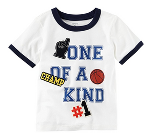 Carter's Boys'One Of A Kind Sporty Tee, White, 4t