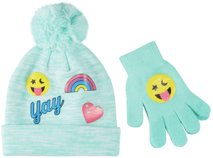 Capelli Girls Emoji Hat & Mittens Set, Green, S/M