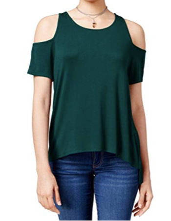 Hippie Rose Womens Juniors Hi-Low Cold Shoulder Casual Top