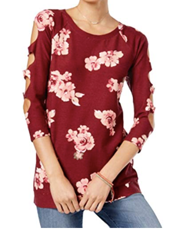Almost Famous Juniors' Cutout-Sleeve Tunic, Burgundy Floral, M