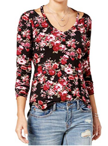 Ultra Flirt Juniors' Printed Cutout-Neck Top, Black Velvet Floral, XL