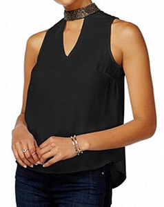 XOXO Juniors' Embellished Top, Black, XL