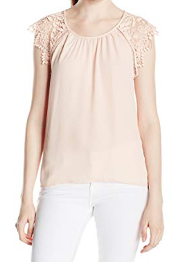 Miss Chievous Women's Scoop Neck Crochet Sleeve Top with Open Back, Light Blush, L