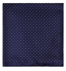 Bloomingdale's Basic Dot Pocket Square, Navy
