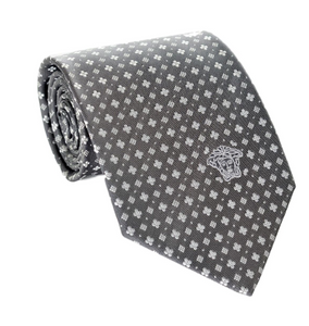 Versace Men's Small Floral Print Patterned Silk Necktie, Gray