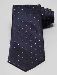 Bloomingdale's Dots On Herringbone Classic Tie, Navy