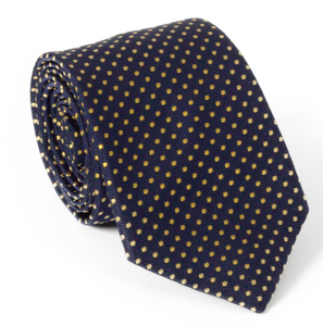 The Men's Store Bloomingdale's Navy & Gold Spot Silk Tie
