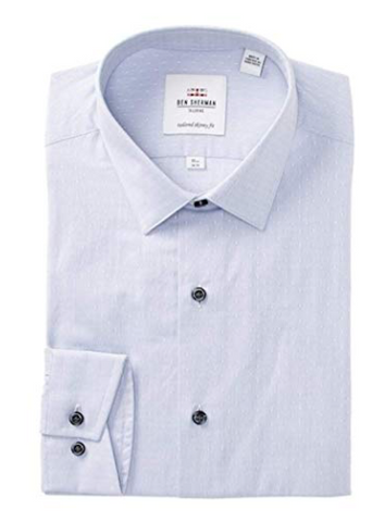 Ben Sherman Men's Silver Circle Dobby Soho Tailored Skinny Fit Dress Shirt