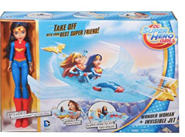 Mattel DC Super Hero Girls Wonder Woman Action Doll and Invisible Jet Plane