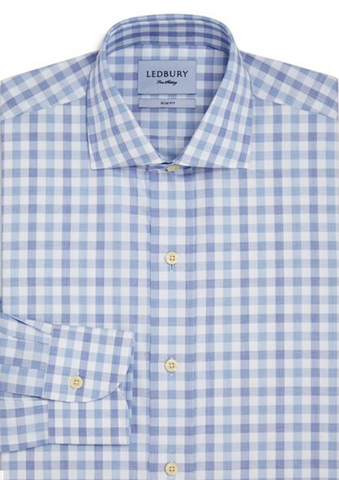 Ledbury Men's Light Ardmore Plaid Shirt Slim, Blue