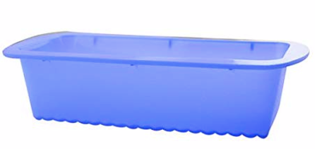 "Silicone Bake Rectangular Loaf Pan  4"" x 9"" inch 1 Pc, Blue"