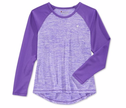 Champion Performance Little Girls Long Sleeve Top, Electric Purple, 2T
