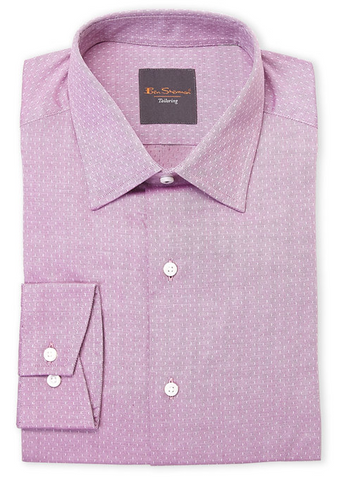 Ben Sherman Fuchsia Neat Twill Slim Fit Dress Shirt, Purple