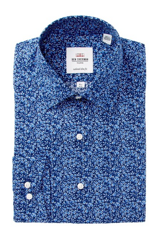 Ben Sherman Blue Floral Print Tailored Slim Fit Dress Shirt