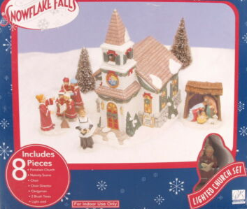 Snowflake Falls Christmas, Church Village Set, Village Church Set, 8 Pieces